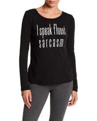 Steve Madden I Speak Fluent Sarcasm Front Graphic Print Long Sleeve Tee - Black