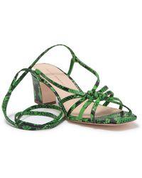 Loeffler Randall Libby Snake Embossed Sandal - Green
