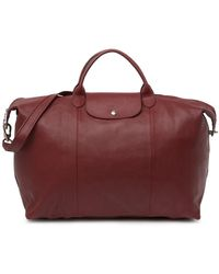 Longchamp Leather Travel Bag - Red