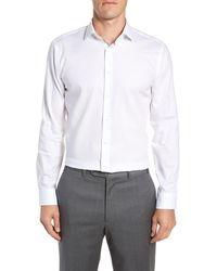 Calibrate Trim Fit Stretch No-iron Solid Dress Shirt - White