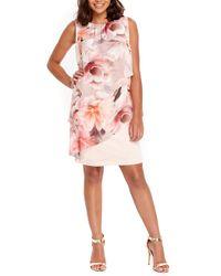 Wallis - Floral Overlay Shift Dress - Lyst