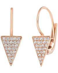 Ron Hami Rose Gold Wire Earring With Pave Diamond Triangle Drop - 0.28 Ctw - Metallic