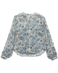 Veronica Beard Ashlynn Floral Print Silk Blouse - Blue