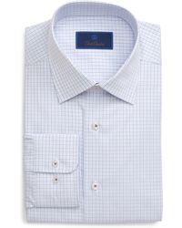 David Donahue Regular Fit Plaid Dress Shirt - Blue
