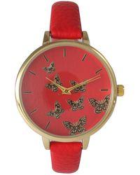 Olivia Pratt Women's Butterfly Dial Leather Watch - Multicolor