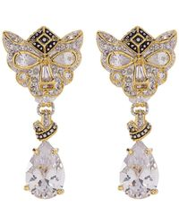 CZ by Kenneth Jay Lane - Pear Drop Panther Mash Earrings - Lyst