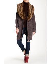 Heartloom - Velma Faux Fur Trim Sweater Wrap - Lyst