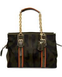 Longchamp - Genuine Calf Hair & Snake Embossed Leather More Bag - Lyst