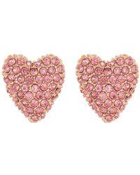 Betsey Johnson Heart Stud Earrings - Pink