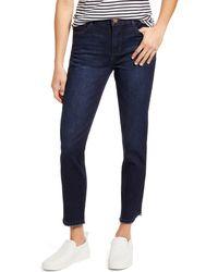 Wit & Wisdom Ab-solution High Waist Fray Hem Ankle Skinny Jeans - Blue
