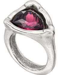 Uno De 50 Star-trick Ruby Swarovski Crystal Accented Geometric Ring - Purple