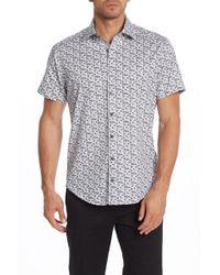 Stone Rose - Geo Print Short Sleeve Regular Fit Shirt - Lyst