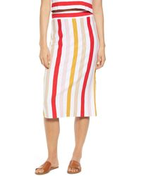 Lou & Grey Johann Stripe Midi Skirt - Red