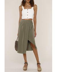 Heartloom Sloan Wrap Asymmetrical Midi Skirt - Green