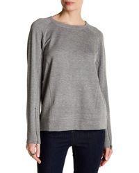 Heather by Bordeaux - Long Sleeve Zip Cuff Sweatshirt - Lyst