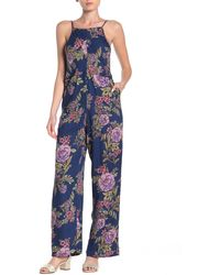 Angie Floral Printed Sleeveless Jumpsuit - Blue