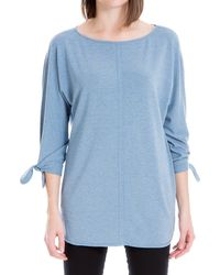 Max Studio Tie Sleeve French Terry Tunic - Blue