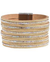 Saachi Glamour & Glitz Crystal Studded Leather Cuff Bracelet - Metallic