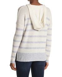 Kinross Cashmere Hooded Stripe Cashmere V-neck Sweater - Gray