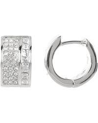 Vince Camuto - Round & Princess Crystal Wide Huggie 13mm Hoop Earrings - Lyst