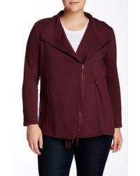 Heather by Bordeaux New Fleece Zip Jacket (plus Size) - Purple