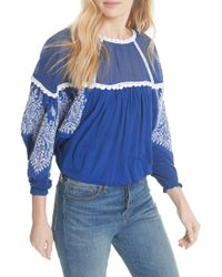Free People - Carly Embroidered Blouse - Lyst
