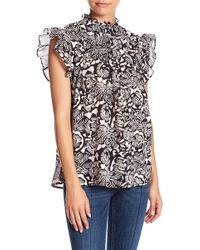 Banjanan - Printed Ruffle Sleeve Blouse - Lyst