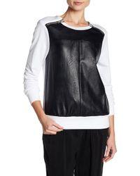ABS By Allen Schwartz - Zip Faux Leather Front Sweater - Lyst