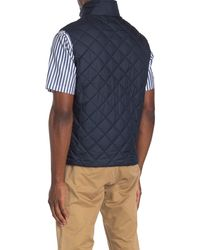 Brooks Brothers Diamond Quilt Zip Vest - Blue
