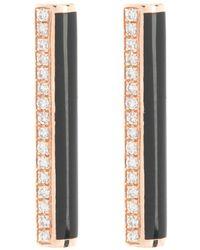 EF Collection 14k Rose Gold Diamond & Black Enamel Bar Stud Earrings - 0.09 Ctw - Multicolor