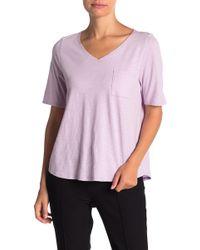 Eileen Fisher Organic Cotton V-neck T-shirt (petite) - Pink