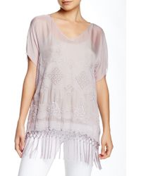 4 Love & Liberty - Sheer Silk Fringe Top - Lyst