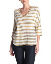 Max Studio Stripe V-neck Knit Shirt - Multicolor