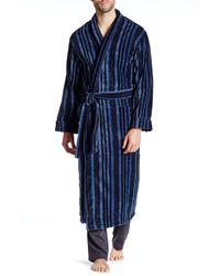 Majestic Filatures Flannel Shawl Collar Robe - Blue