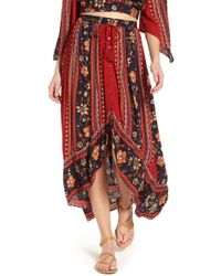 Band Of Gypsies - High/low Button Front Skirt - Lyst