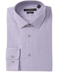 John Varvatos Modern Gingham Slim Fit Dress Shirt - Purple