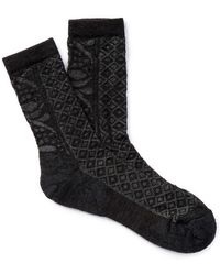Smartwool Lily Pond Pointelle Wool Blend Crew Socks - Black