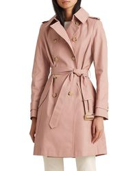 Lauren by Ralph Lauren Double Breasted Belted Trench Coat - Pink