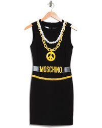 Moschino Printed Logo Chain Sleeveless Dress - Black