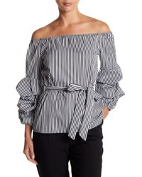 Eci - Off-the-shoulder Striped Long Sleeve Top - Lyst