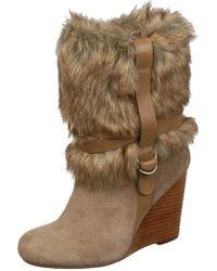 Fergie Fargo Faux Fur Wedge Boot - Multicolour