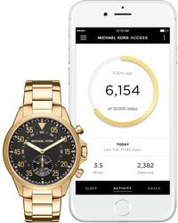 Michael Kors - Men's Goldtone Bracelet Smartwatch, 45mm - Lyst