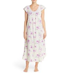 Carole Hochman - Designs Lace Trim Floral Print Cotton Long Nightgown - Lyst
