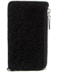 Theory - Fur Zippered Card Case - Lyst