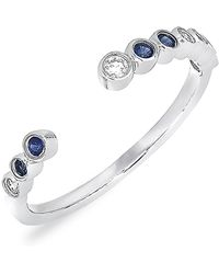 Bony Levy - 18k White Gold Sapphire Diamond Accented Open Ring - 0.07 Ctw - Lyst