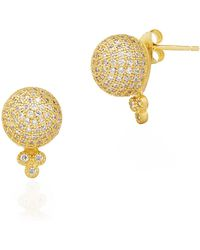 Freida Rothman - 14k Yellow Gold Plated Sterling Silver Pave Cz Bindhi Ball Stud Earrings - Lyst