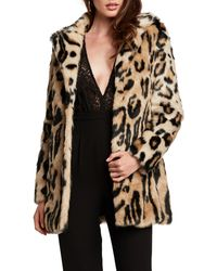 Bardot Animal Leopard Faux Fur Coat - Multicolour