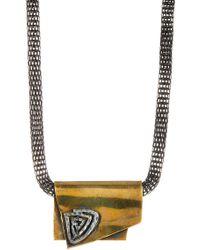 TMRW STUDIO - Antique Gold & Silver Plated Geo Pendant Mesh Necklace - Lyst
