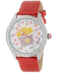 Betsey Johnson Women's Crystal Accented French Fry Glitter Strap Watch, 40mm - Multicolour