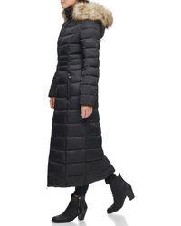 Kenneth Cole Faux Fur Hood Zip Front Puffer Jacket - Black